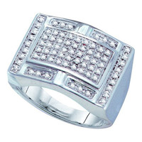 Diamond Micro-pave Mens Ring in 10k White Gold 0.5 ctw