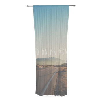 "Laura Evans ""Let's Go On An Adventure"" Brown Blue Decorative Sheer Curtain"