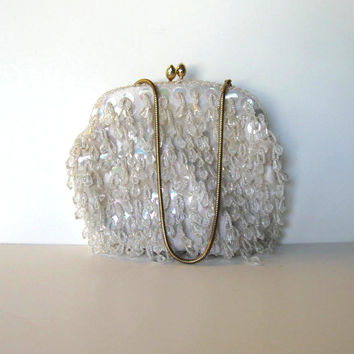Handmade Beaded and Sequined White Handbag, Vintage Clutch, Woman's accessory, Prom, Wedding, Great Gatsby