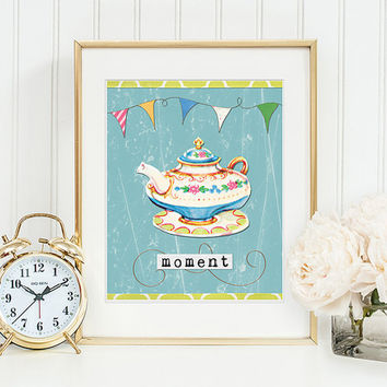 Floral Teapot Art Print Wall and Home Decor Moment Word Art Digital Tea Party Wedding Birthday Kitchen Decor Printable