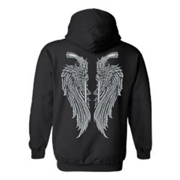 Women's/Unisex Zip-Up Hoodie Beautiful Angel Wings  Pistols Tucked