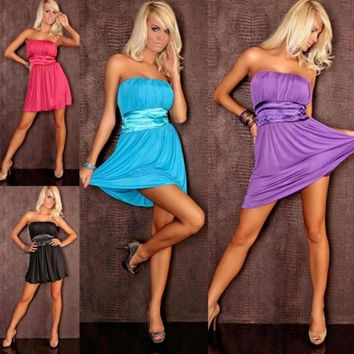plus size M XXL Lady Strapless Fold Mini Fashion Club Dress Sexy Nightwear Intimates Party Costume black red blue purple = 1956692100