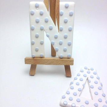Polka Dot Letters, Boys Baptism, Personalized Favors, Baptism Decoration, Polymer Clay Letters, Decor Letters, Event Decor, Baby Shower Deco