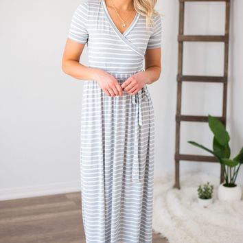 Striped Wrapped Maxi Dress- 2 Options