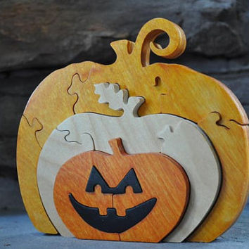 Jack O Lantern Pumpkin Holiday Halloween Fall Puzzle Wooden Toy Hand Cut with Scroll Saw