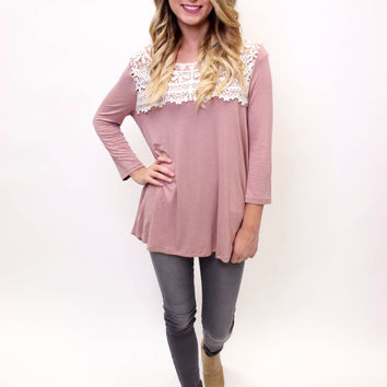 Rose Taupe Solid Knit Top W/ Lace