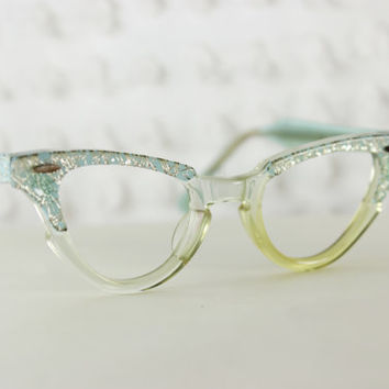 50s Childrens Glasses 1950's Cat Eye Eyeglasses Silver Tinsel Baby Blue 38/18 Child or Little Girl Size by Bausch and Lomb Optical Frame