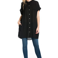 Short Sleeve Longline Button Down Chiffon Top in Black