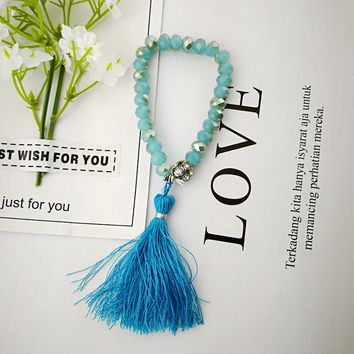 Specials Korean Blue Glass Crystal Stretch Bracelet Line Tassel Bracelet Pendant Cotton Accessories LR