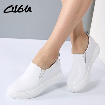 O16U Women Casual platform Flats Shoes Soft Real Leather Slip on Increasing female Sneakers White Black Metallic Faux Fall Shoes