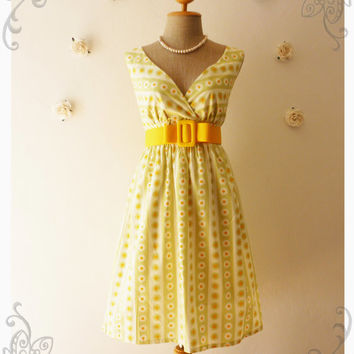 Vintage Inspired Dress Summer Dress Vintage Style Dress Floral Bridesmaid Dress Tea Dress Party Dress Light Green and Yellow Shade-S-M-