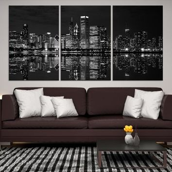 15050 - Chicago Wall Art Canvas Print - Extra Large Chicago City Night Canvas Print - Chicago Skyline Night Canvas Print