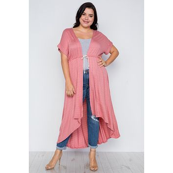 Plus Size Basic High Low Cardigan Cover Up ()