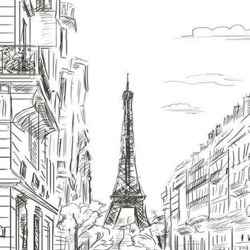 PARIS EIFFEL TOWER LINE ART VINYL BACKDROP - 3X4 - LCBD7410 - LAST CALL