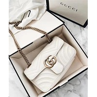 Gucci Hot Sale Women Shopping Bag Leather Metal Chain GG Buckle Crossbody Satchel Shoulder Bag White