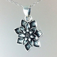 Lotus Necklace~Sterling Silver Lotus Flower Pendant~Silver Water Lily Charm Necklace~Flower Jewelry