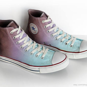 Ombré dip dye Converse All Stars, turquoise, purple, mocha brown, upcycled vintage sneakers,high tops, eu 44 (UK 10, US mens 10, US wo's 12)