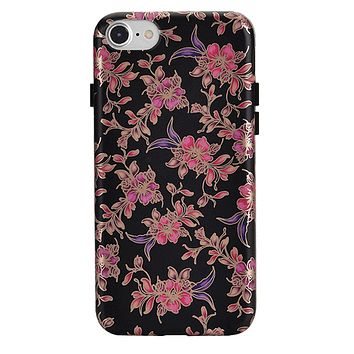 Midnight Floral Rose Gold Chrome iPhone Case
