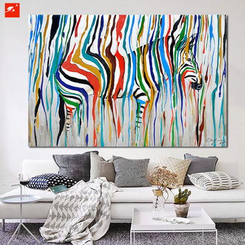 2016 Abstract Colourful Rainbow Zebra Animal Wall Art Hand Painted Oil Painting Big Size Home Living Room Decoration