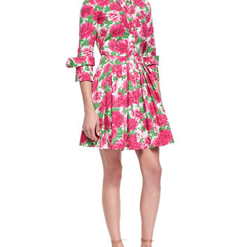 Peony-Print Double-Cuff Shirtdress, White/Geranium, Size: