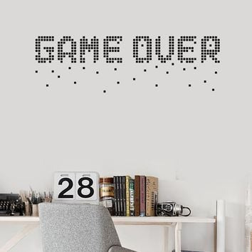 Vinyl Wall Decal Game Over Pixel Art Video Games Gamer Room Decoration Stickers Mural (ig5549)