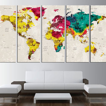 push pin World Map Canvas art, travel push pin World Map with country label wall art, 5 panels, ready to hang extra large WALL ART t562