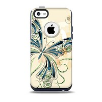 The Vibrant Tan & Blue Butterfly Outline Skin for the iPhone 5c OtterBox Commuter Case