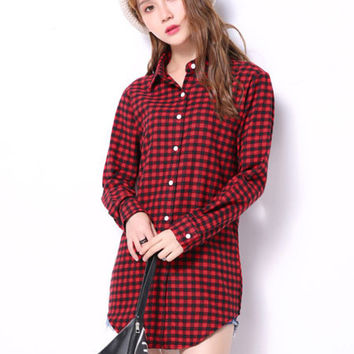 Cuff Sleeve Buttoned Lapel Blouse