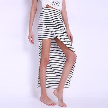 ESB1ON Celmia Summer Striped Side Split Long Skirt Women 2017 Sexy Beach Girl Elastic High Waist Maxi Saias Plus Size Strips Skirts
