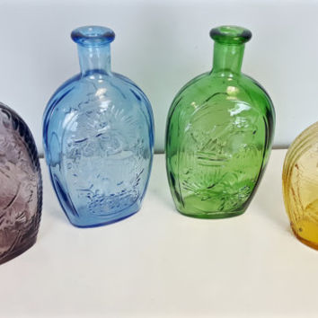 Vintage Abraham Lincoln Malice Towards None Presidential Flask Bottles Colored Glass Purple Amethyst Blue Green Amber Collectible Bottles