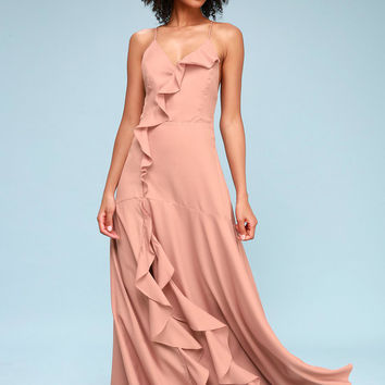 Selmah Mauve Ruffled Lace-Up Maxi Dress