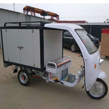 TJ-DKC-60V-20AH-1000W-Tricycle passenger cabinet freight electric tricycle with food fruit plate tricycle
