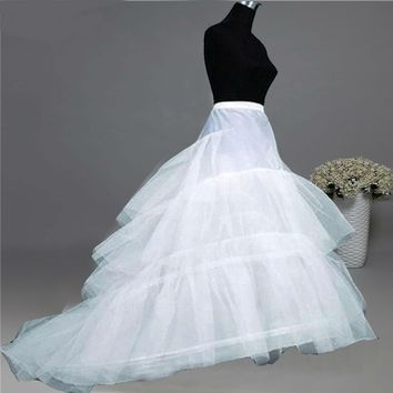 Wedding Petticoat Jupon Court Train Crinoline Slip Underskirt for A-line Wedding Dress 3 Layers Wedding Accessories