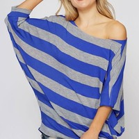 Off Shoulder Striped Top - Gray and Blue