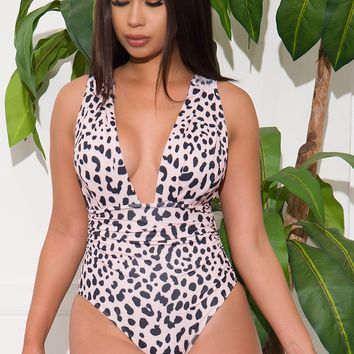 White Coral Sands One Piece Swimsuit  Animal Print
