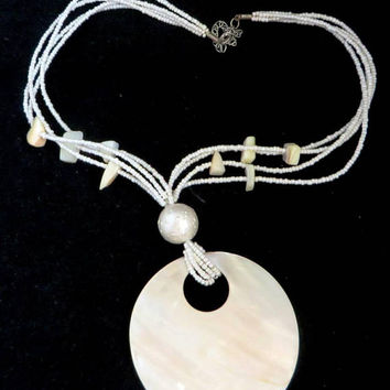 MOP Pendant Necklace, Vintage Beaded Mother of Pearl Multistrand Necklace