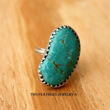 Turquoise Ring - Vintage Ring - Turquoise And Silver - Sterling Silver Ring - Native American Ring Size 9 - Statement Ring - Large Stone
