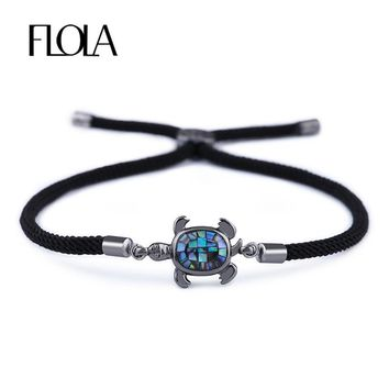 FLOLA Black Punk Ablone Shell Turtle Bracelet for Woman Man Handmade String Rope Cute Animal Bracelet Lucky Jewelry Gift brta85
