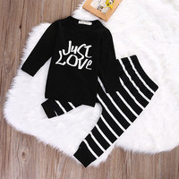 2pcs suit !!Newborn 6 12 18 24 Months  Baby Boy Girl just love letter printed long sleeve T-shirt Striped Pants Outfits Set