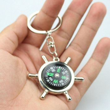 Unique Creative Compass Rudder bottle opener Key Chain, Glossy Alloy Keychain Keyrings Best Gifts