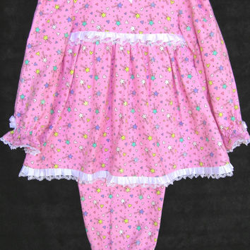 Little girls pajamas - pink flannel - long sleeve - toddler sleepwear - trimmed satin and lace ruffle ribbon - stars and hearts - size 4