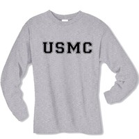 USMC Athletic Marines Long Sleeve T-Shirt in gray - Small