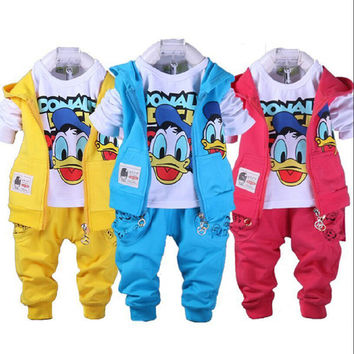 Autumn children boys girls clothing sets cartoon Donald Duck kids casual Vest Coat Jacket Tshirt Pants 3 pcs sport style Outfits