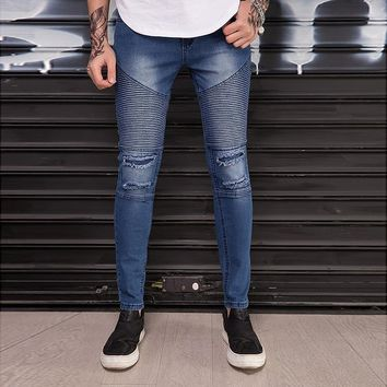 2018 Men Biker Jeans Ripped Slim Moto Solid color High quality Hip hop Casual Stretch Skinny Joggers Mens Blue jeans Trousers