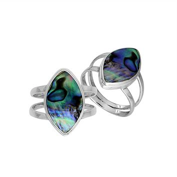 "AR-6236-AB-6"" Sterling Silver Marquise Shape Ring With Abalone Shell"