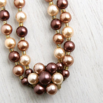 SALE - Vintage Brown & Faux Pearl Beaded Necklace - 1950s Layered Lucite Costume Jewelry / Milk Chocolate Beads