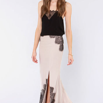 Cream Lace Fishtail Maxi Skirt with Slit