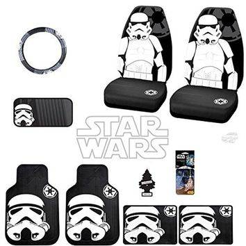 New 12 Pieces Star Wars Stromtrooper Car Truck SUV Seat Covers Floor Mat Set with Air Freshener