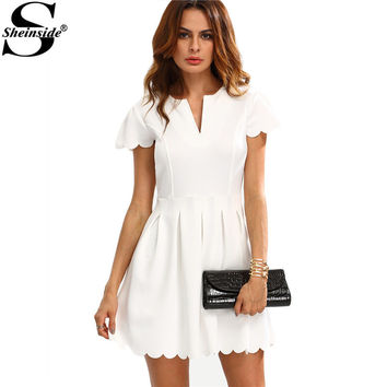 Sheinside 2016 Female Work Wear Mini Dresses Plain White V Cut Scalloped A-Line Short Sleeve Above Knee Dress
