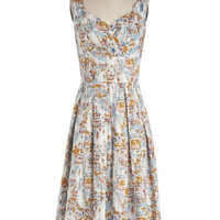 ModCloth Travel Long Sleeveless A-line Still Life in Motion Dress in Boulevard